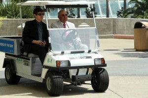Mayor Rosen drives up in our new solar-powered maintenance cart funded by the donation from the Green Mountain Energy Sun Club