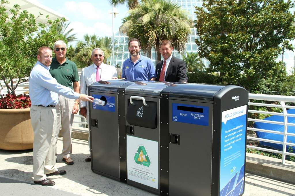 Close up of our new solar-powered trash compactors/recycling stations