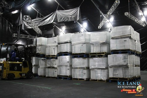 The giant tent was quickly filled with pallet upon pallet of ice.