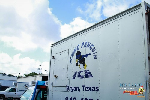To create the ice, Moody Gardens enlisted the services of Flying Penguin Ice in Bryan, Texas.