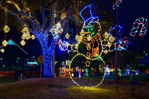 FOL snowman with tree and lighted balls 500x333 - Moody Gardens Festival Of Lights 2017