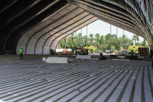 Then the flooring was placed to insulate the tent at its ultimate 9 degree environment.