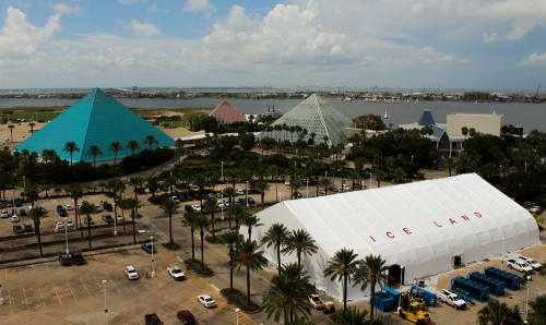 The finished product was an impressive 28,000 square foot tent that towered 40 feet into the air.